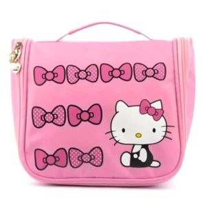 Hello Kitty Cosmetic Travel Case Pink Bows Hanger